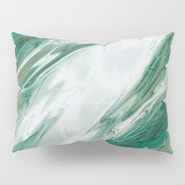 Emerald Jade Green Gold Accented Painted Marble Pillow Sham