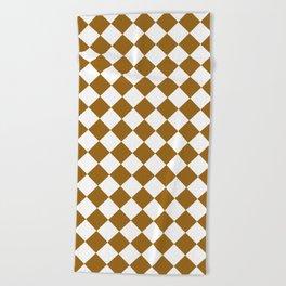 Diamonds White And Golden Brown Beach Towel