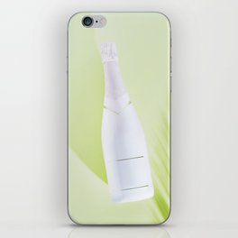 Summer white bottle over green background and leaves shade iPhone Skin