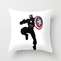 captain Throw Pillows featuring Captain by Crayle Vanest
