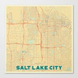 Salt Lake City Map Retro Canvas Print