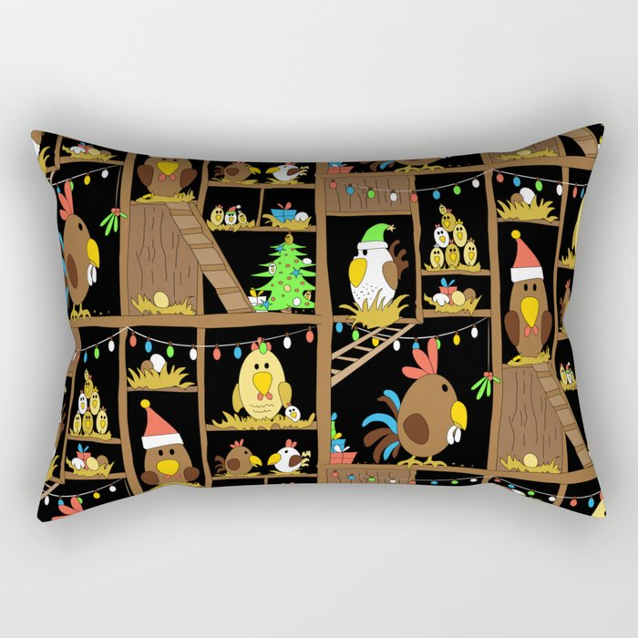 Chicken Coop Christmas - funny chickens, farm, holidays Rectangular Pillow