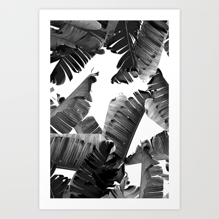 Banana black white art print