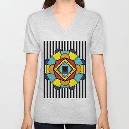 African Inspired Geometric Design Unisex V-Neck