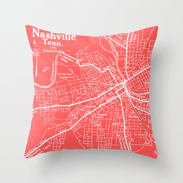 Vintage Nashville Pink Throw Pillow