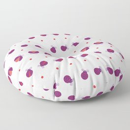 Purple ladybugs separated with dots over light yellow background seamless pattern Floor Pillow