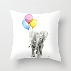 Baby Elephant with Balloons Nursery Animals Prints Whimsical Animal Throw Pillow
