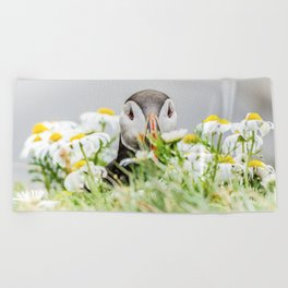 Puffin in Daisies Beach Towel