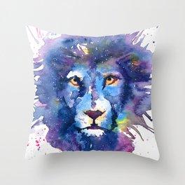 Watercolor Leo Zodiac Splatters Lion Throw Pillow
