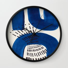Colorful Mid Century Modern Abstract Fun Shapes Patterns Navy Blue Abstract Expressionism Wall Clock