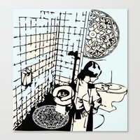 toilet Canvas Prints featuring TOILET CLEANING by Sofia Youshi