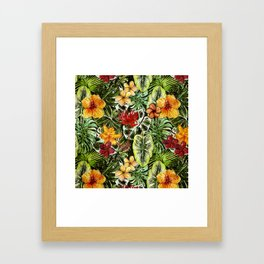 Tropical Vintage Exotic Jungle Flower Flowers - Floral watercolor pattern Framed Art Print