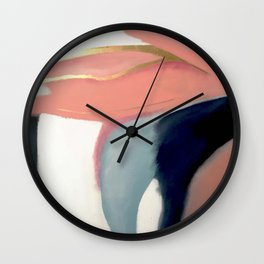 Exhale [2] : pretty abstract painting in pink, gold, and blue Wall Clock