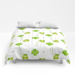 green clover leaf pattern watercolor Comforters
