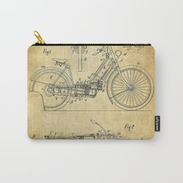 1895 A Wolfmuller Velocipede Motorcycle Patent - Blueprint Carry-All Pouch