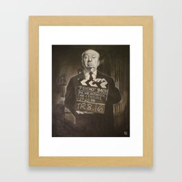 Alfred Hitchcock in Charcoal Framed Art Print