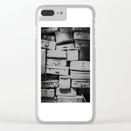 Suitcase Stack Black and White Clear iPhone Case