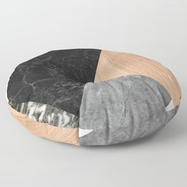 Marble and Wood Abstract Floor Pillow