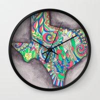 texas Wall Clocks featuring Texas by Laura Maxwell
