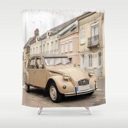 Vintage car in old village I Rue, France I Photography Shower Curtain