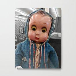 Creepy Blue-Hoodie Baby Metal Print