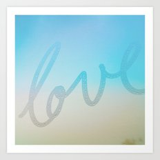 Love in ice blue & yellow  Art Print