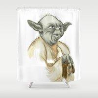 yoda Shower Curtains featuring YODA by carotoki art and love