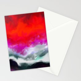 Abstract in Red, White and Purple Stationery Cards