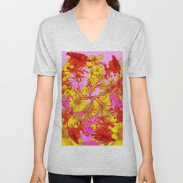 AWESOME RED AMARYLLIS & YELLOW COREOPSIS RED ABSTRACT GARDEN Unisex V-Neck