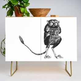 Say Cheese! | Tarsier with Vintage Camera | Black and White Credenza