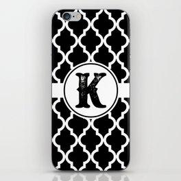 Black Monogram: Letter K iPhone Skin
