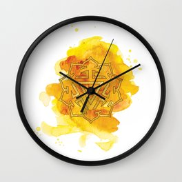 Solar Plexus Watercolour Painting Wall Clock