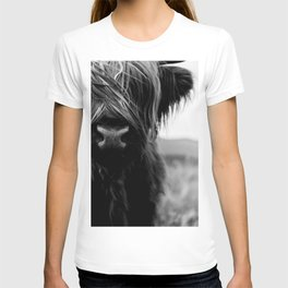 Scottish Highland Cattle Baby - Black and White Animal Photography T-shirt