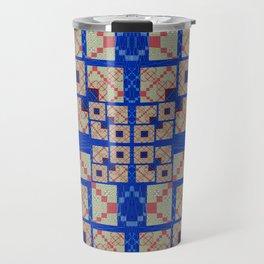 Retro Futuristic Modern Blue and Red Patchwork Geometry Travel Mug