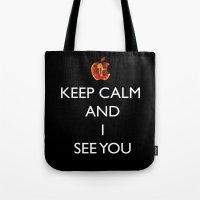 keep calm Tote Bags featuring KEEP CALM  by Caio Trindade
