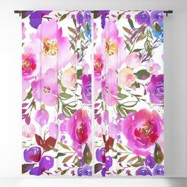 Elegant blush pink violet lavender watercolor summer floral Blackout Curtain