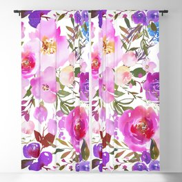 Elegant blush pink violet lavender watercolor summer floral Blackout Curtain