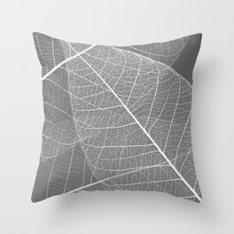 Gray Skeleton Leaf Throw Pillow