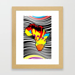 African Abstract Painting Interpretation with a Multicolor Zebra Print Background Framed Art Print
