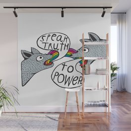 Speak truth to power, rainbow mouth dog heads Wall Mural