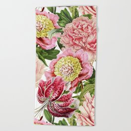 Vintage & Shabby Chic Floral Peony & Lily Flowers Watercolor Pattern Beach Towel