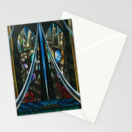Brooklyn Bridge, New York City Skyline Art Deco landscape painting by Joseph Stella Stationery Cards