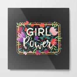 Girl Power - Charcoal Metal Print