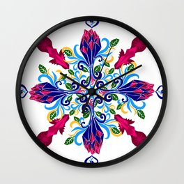 Moroccan Rose Tile Pattern Wall Clock