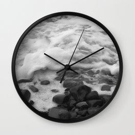 White Waves on Black Rocks Photographic Print Wall Clock