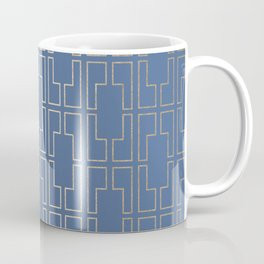 Simply Mid-Century in White Gold Sands and Aegean Blue Coffee Mug