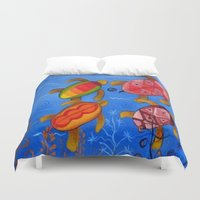 swimming Duvet Covers featuring Swimming by Montes Arte Mexicano