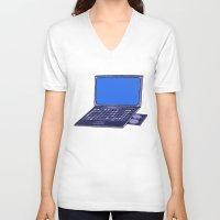 laptop V-neck T-shirts featuring  Laptop  by Sofia Youshi