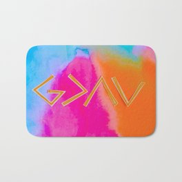 God Is Greater Than The Ups and Downs- Mix ORANGE Bath Mat
