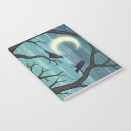 crows, fireflies, and poppies in the moonlight Notebook